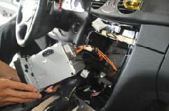 12. Please be careful not to stretch the wiring harness behind the assembly. a step by step installation guide for a 2004 2011 mercedes benz 2004 Ford Explorer Stereo Wire Harness at virtualis.co