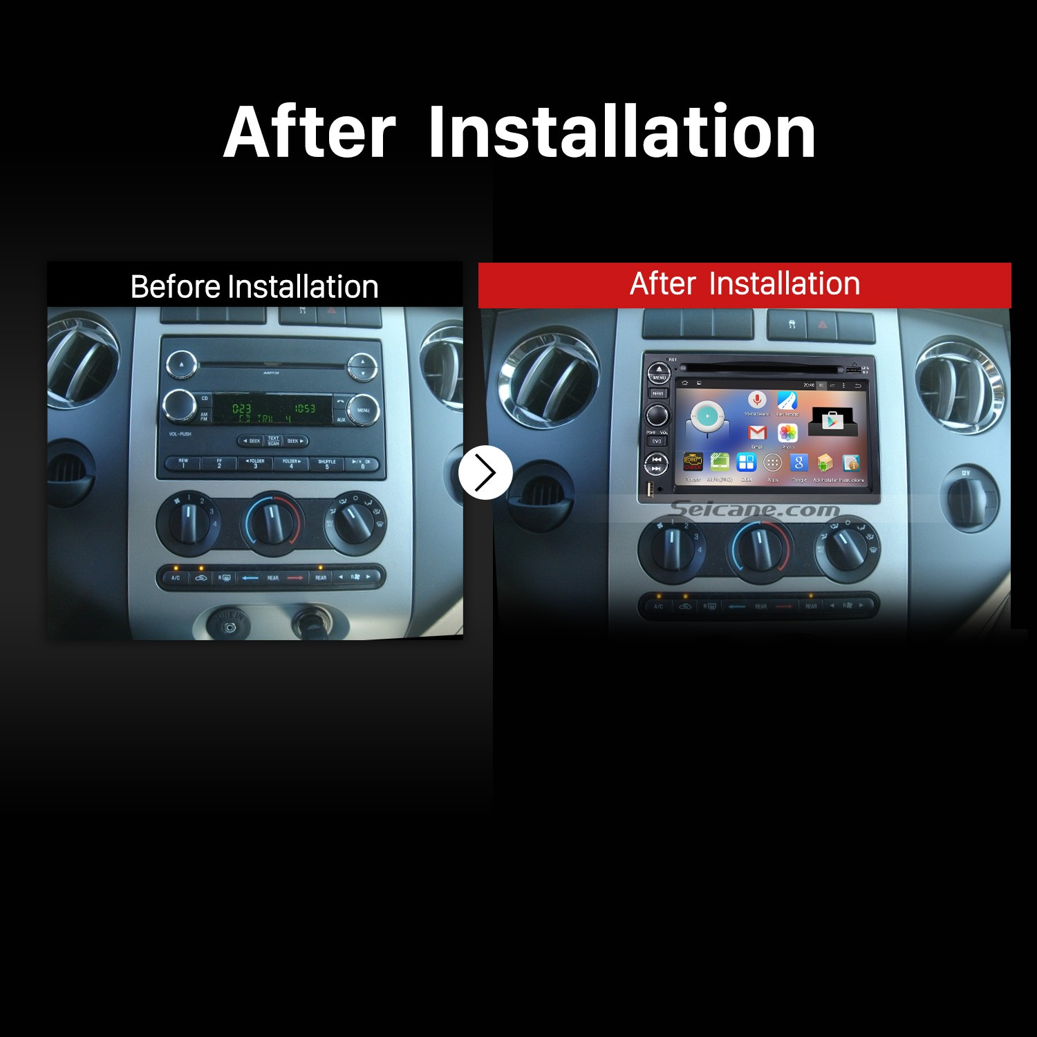 2004 2017 Ford F150 F250 F350 Stereo Head Unit After Installation