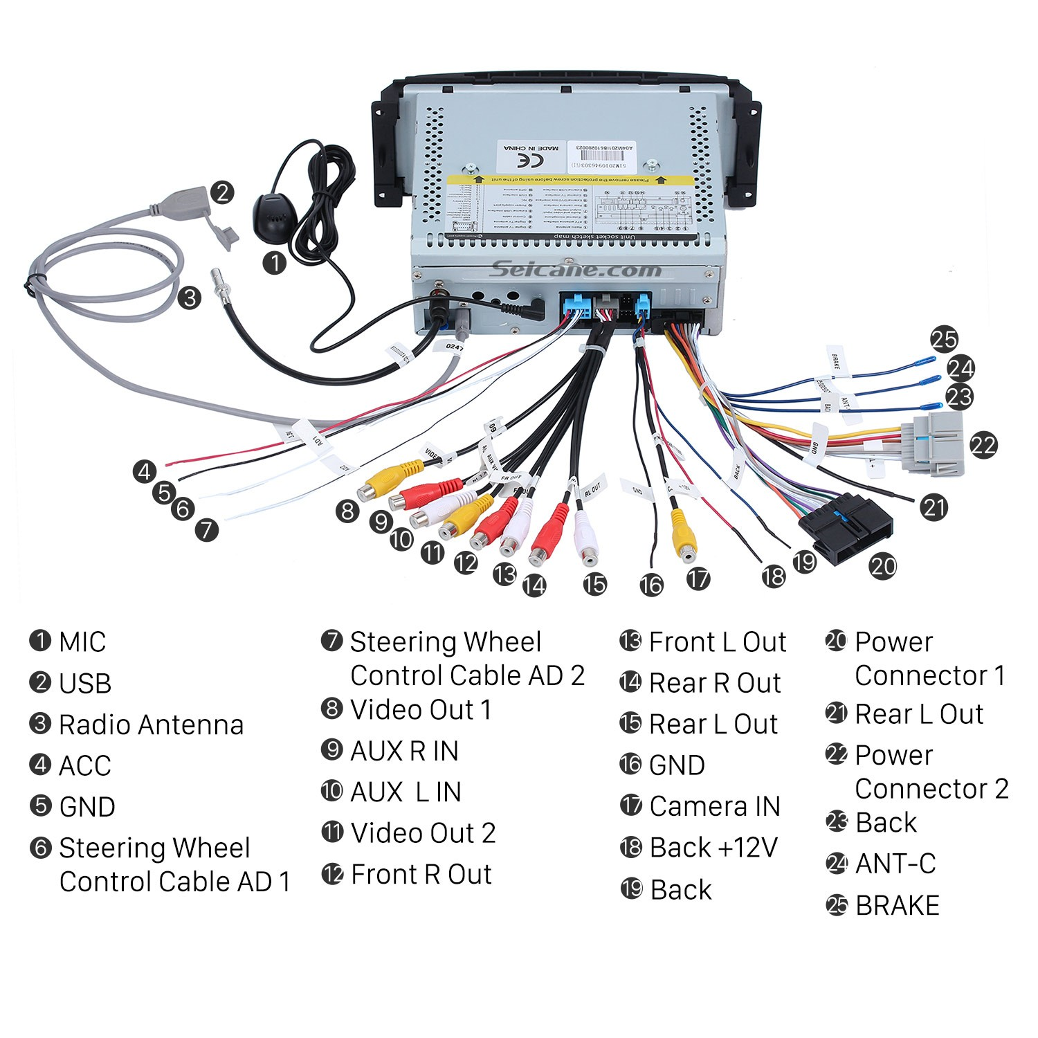 8. Connect the harnesses to the back of the new Seicane car radio 2002 2007 Jeep Liberty Stereo how to install a 2002 2007 jeep liberty stereo to fix radio Ford Stereo Wiring Harness at bayanpartner.co