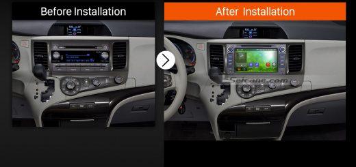 2013 2014 2015 2016 TOYOTA Sienna XL30 Bluetooth Head Unit after installation