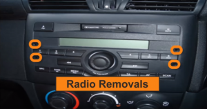 There are four Removal Slots in the original car radio, as shown below