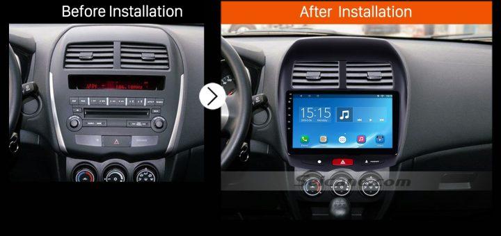2010 2011 2012 2013 Mitsubishi ASX car radio after installation